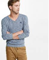 Express marled cotton v-neck sweater