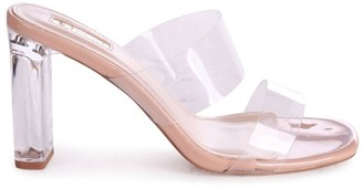 Linzi DENI - Nude Perspex Mule With Double Front Strap & Plastic Block Heel