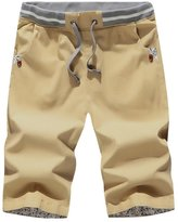 LETSQK Men's Ocean Drawstring Cotton Extended Size Shorts Swim Trunk L