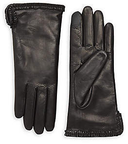 Agnelle Women's Brune Small Ruffle Rabbit Fur-Lined Leather Gloves