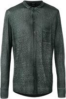 Avant Toi band collar shirt - men - Linen/Flax - S