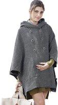 Sweet Mommy Maternity and Babywearing Hooded Tweed Poncho Coat BKF