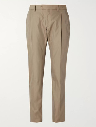 Lardini Slim-Fit Cotton and Silk-Blend Suit Trousers - Men - Brown