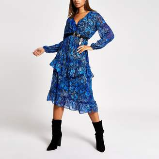 River Island Womens Blue snake printed frill wrap midi dress