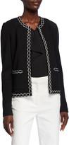 St. John Pebbled Textured Knit Jacket with Decorative Trim