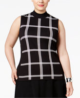 Alfani Plus Size Windowpane Mock-Neck Top, Only at Macy's