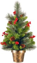 National Tree 2' Crestwood Spruce Small Tree with Silver Bristle, Cones, Red Berries and Glitter in a Bronze Plastic Pot - 24 in. - 36 in.