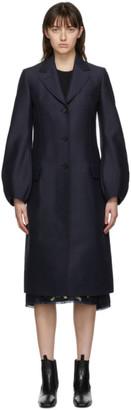 Lanvin Navy Wool Balloon Sleeve Coat