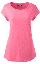 Lands' End Women's Plus Size Cap Sleeve Pocket Tee-Rich Sapphire