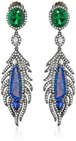 Kenneth Jay Lane CZ by Multi-Cubic Zirconia Feather Post Drop Earrings, 27 cttw