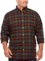 THE FOUNDRY SUPPLY CO. The Foundry Big & Tall Supply Co. Long Sleeve Plaid Button-Front Shirt-Big and Tall