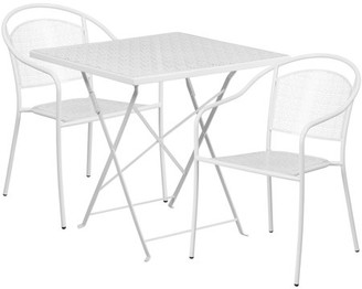 Flash Furniture 28'' Square Indoor-Outdoor Steel Folding Patio Table Set with 2 Round Back Chairs, Multiple Colors