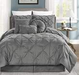 Chezmoi Collection Sydney 7-piece Pintuck Bedding Comforter Set (King, Gray)