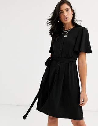 French Connection slinky jersey belted dress-Black