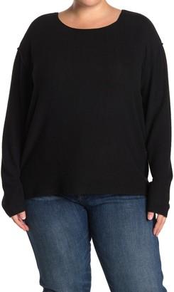 Sweet Romeo Exposed Seam Crew Neck Sweater (Plus Size)