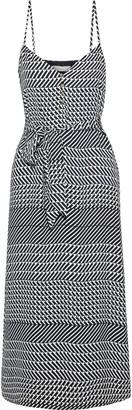 Joie Shira Belted Printed Crepe De Chine Midi Slip Dress