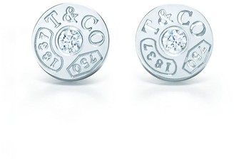 Tiffany & Co. 1837TM circle earrings in 18k white gold with diamonds
