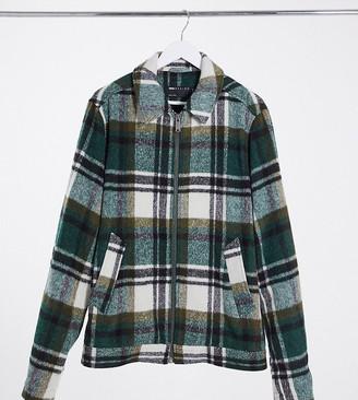 ASOS DESIGN Tall wool mix Harrington jacket in green and ecru check