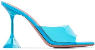 Amina Muaddi blue Lupita 95 PVC mules