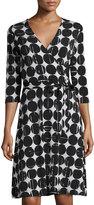 Neiman Marcus 3/4-Sleeve Polka Dot Perfect Wrap Dress, Black