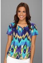 Caribbean Joe Island Ikat S/S Pullover Top (Skiff Purple) - Apparel