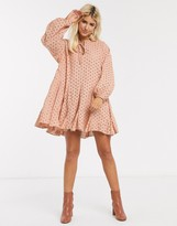 Asos Design DESIGN trapeze mini dress with godets in broderie in mink