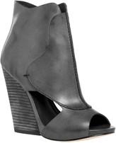 Max Studio Eagle - Waxed Leather High Heel Wedge Peep Toe Booties
