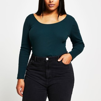 River Island Womens Plus Green long sleeve fitted top