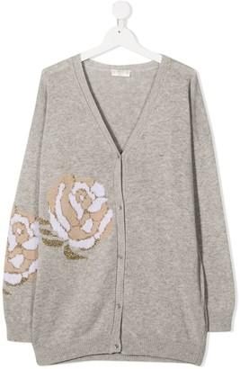 MonnaLisa TEEN floral intarsia knit cardigan