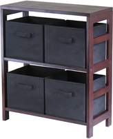 Winsome Wood Capri Wood 2 Section Storage Shelf with 4 Black Fabric Foldable Baskets