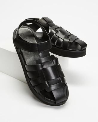 AERE - Women's Black All thongs - Caged Fisherman Leather Sandals - Size 11 at The Iconic