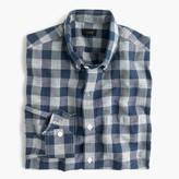 J.Crew Slim end-on-end Irish cotton-linen shirt in blue plaid