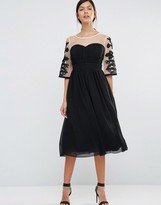 Little Mistress Skater Dress With Contrast Embroidered Sleeves