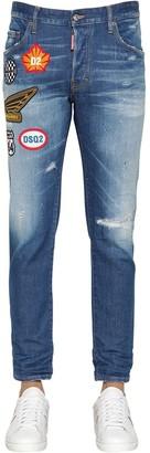 DSQUARED2 16cm Skater Cotton Denim Jeans W/patches