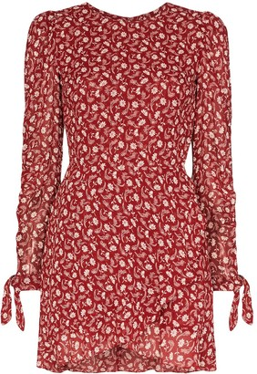 Reformation Lucita belted floral-print wrap mini dress