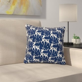 "Dutton East Urban Home Heather Dashing Through the Snow Deer Throw Pillow East Urban Home Size: 16"" x 16"""