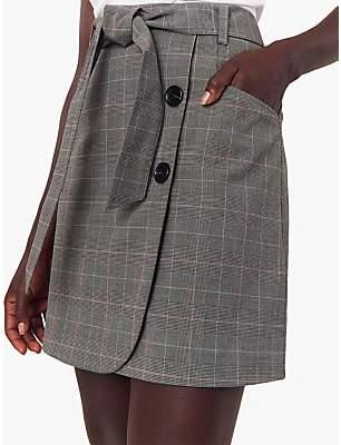 Oasis Prince Of Wales Belted Tie Belt Skirt, Multi