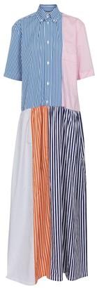 Plan C Striped cotton-blend shirt dress