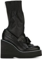 Sacai wedge sock boots - women - Leather/rubber - 39