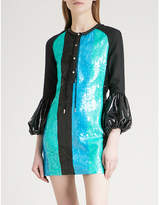 J.W.Anderson Sequinned puff-sleeve linen mini dress