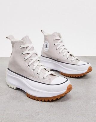 Converse Run Star Hike Hi leather sneakers in silver