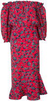 Saloni off shoulder printed dress - women - Silk/Polyester - 10