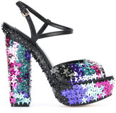 DSQUARED2 star sequin-embellished sandals - women - Calf Leather/Leather/Ermine Fur/Polyester - 37