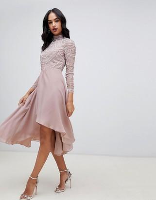 Asos Design DESIGN midi dress with long sleeve embellished bodice-Pink