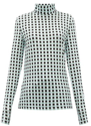 Proenza Schouler White Label Roll-neck Checked Cotton-blend Jersey Top - Light Blue