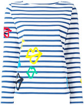 Ports 1961 lips print striped sweatshirt - women - Cotton/Polyurethane - M