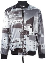 Blood Brother police print bomber jacket