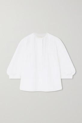 Chloé Lace-trimmed Linen And Cotton-blend Blouse - White