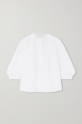 Chloé Lace-trimmed Linen And Cotton-blend Blouse - White