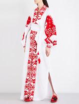 Yuliya Magdych Heard embroidered linen maxi kaftan